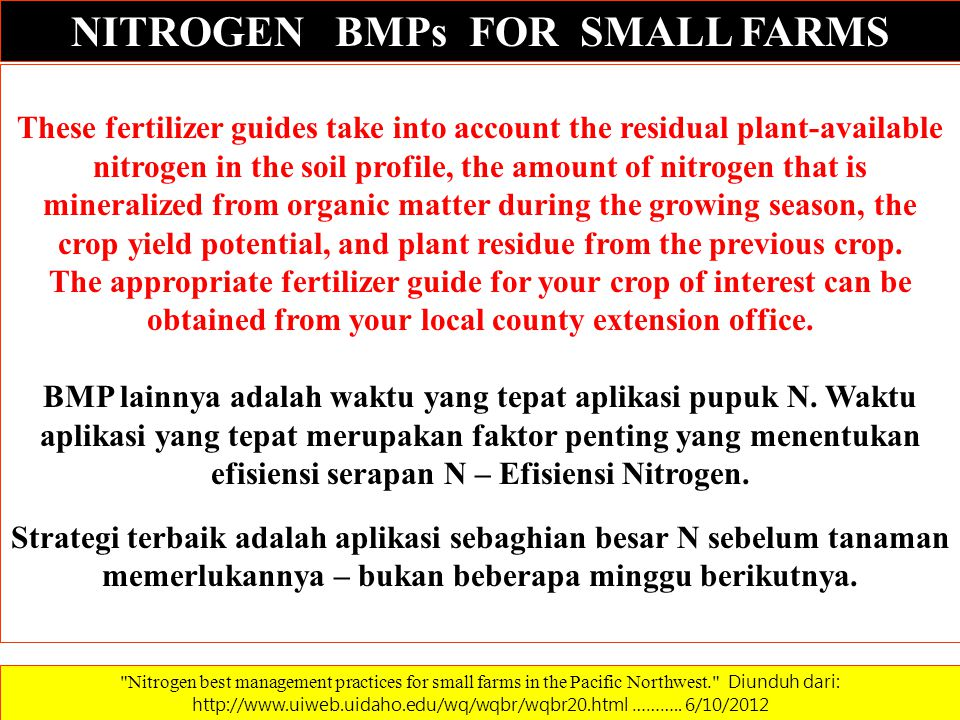 NITROGEN BMPs FOR SMALL FARMS