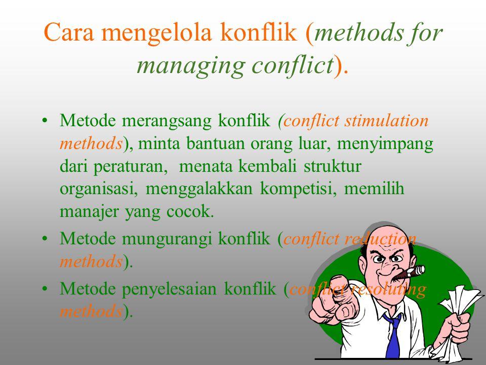 Metode merangsang konflik (conflict stimulation methods), minta bantuan orang luar, menyimpang dari peraturan, menata kembali struktur organisasi, men