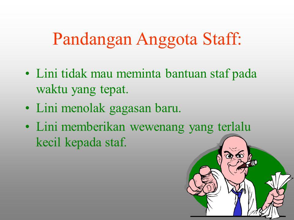 Pandangan Anggota Staff: Lini tidak mau meminta bantuan staf pada waktu yang tepat. Lini menolak gagasan baru. Lini memberikan wewenang yang terlalu k