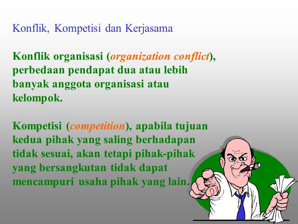 Konflik, Kompetisi dan Kerjasama Konflik organisasi (organization conflict), perbedaan pendapat dua atau lebih banyak anggota organisasi atau kelompok