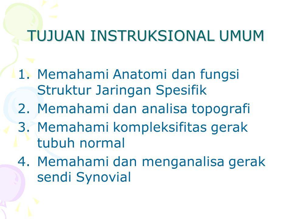 TUJUAN INSTRUKSIONAL UMUM 1.Memahami Anatomi dan fungsi Struktur Jaringan Spesifik 2.Memahami dan analisa topografi 3.Memahami kompleksifitas gerak tu