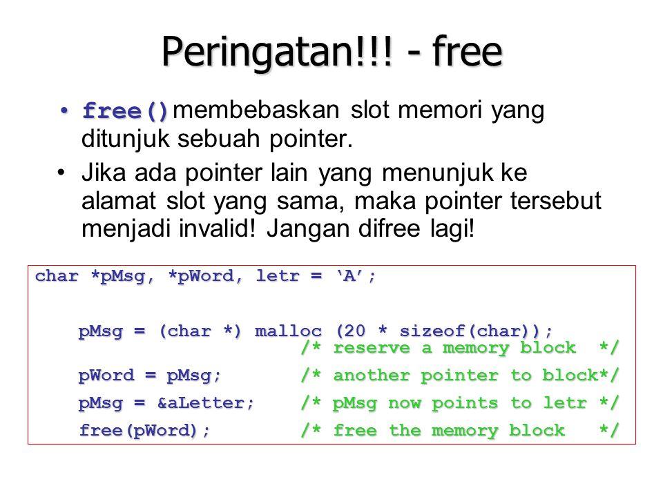 Peringatan!!! - free free()free() membebaskan slot memori yang ditunjuk sebuah pointer. Jika ada pointer lain yang menunjuk ke alamat slot yang sama,