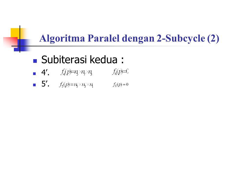 Algoritma Paralel dengan 2-Subcycle (2) Subiterasi kedua : 4'. 5'.