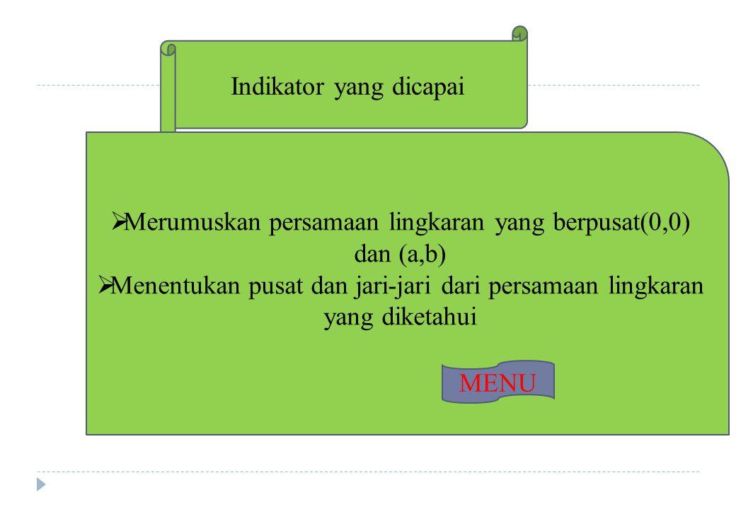 Contoh Soal 1 234 Tentukan persamaan lingkaran yang berpusat (0,0) dan melalui titik (6,2) dan tentukan pula Kedudukan titik (5,5) terhadap lingkaran.