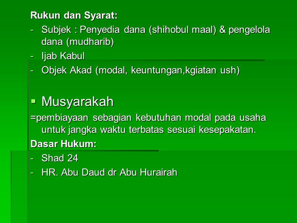 Rukun dan Syarat: -Subjek : Penyedia dana (shihobul maal) & pengelola dana (mudharib) -Ijab Kabul -Objek Akad (modal, keuntungan,kgiatan ush)  Musyar
