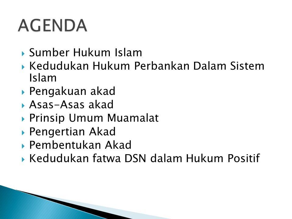  Sumber Hukum Islam  Kedudukan Hukum Perbankan Dalam Sistem Islam  Pengakuan akad  Asas-Asas akad  Prinsip Umum Muamalat  Pengertian Akad  Pembentukan Akad  Kedudukan fatwa DSN dalam Hukum Positif