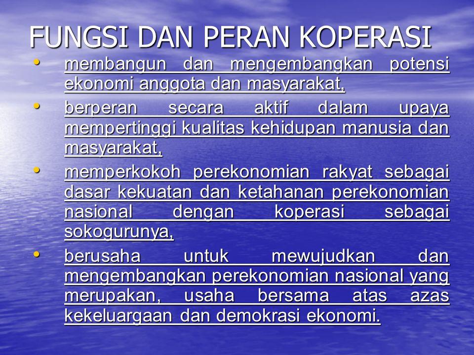 FUNGSI DAN PERAN KOPERASI membangun dan mengembangkan potensi ekonomi anggota dan masyarakat, membangun dan mengembangkan potensi ekonomi anggota dan