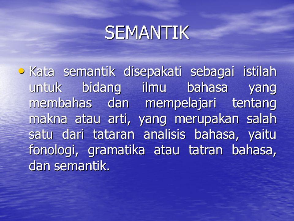 "SEMANTIK >Kata semantik diturunkan dari kata Yunani ""semainein"" yang mempunyai arti bermakna atau berarti. >Aminuddin (1988 : 15) menjelaskan bahwa se"