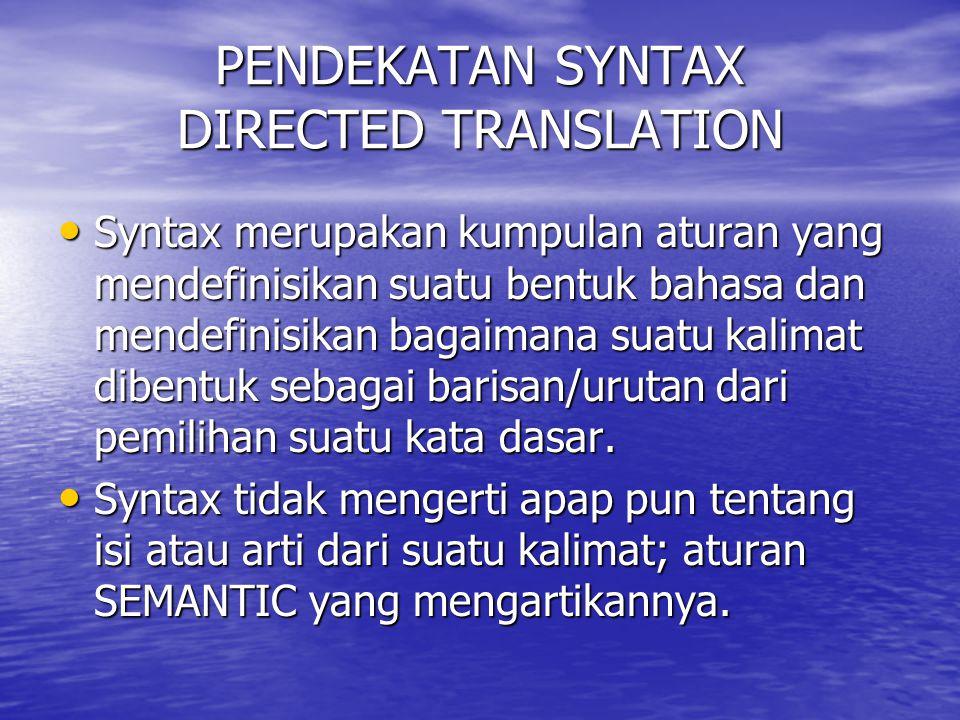 PENDEKATAN SYNTAX DIRECTED TRANSLATION Syntax merupakan kumpulan aturan yang mendefinisikan suatu bentuk bahasa dan mendefinisikan bagaimana suatu kal