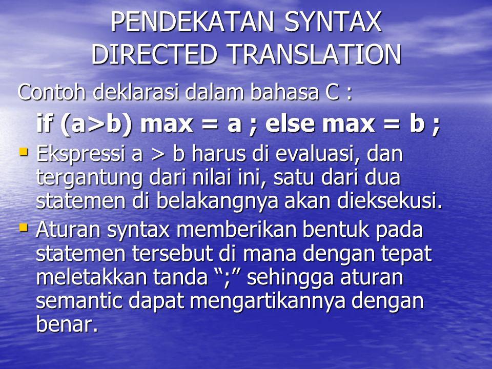 PENDEKATAN SYNTAX DIRECTED TRANSLATION Contoh deklarasi dalam bahasa C : if (a>b) max = a ; else max = b ;  Ekspressi a > b harus di evaluasi, dan te