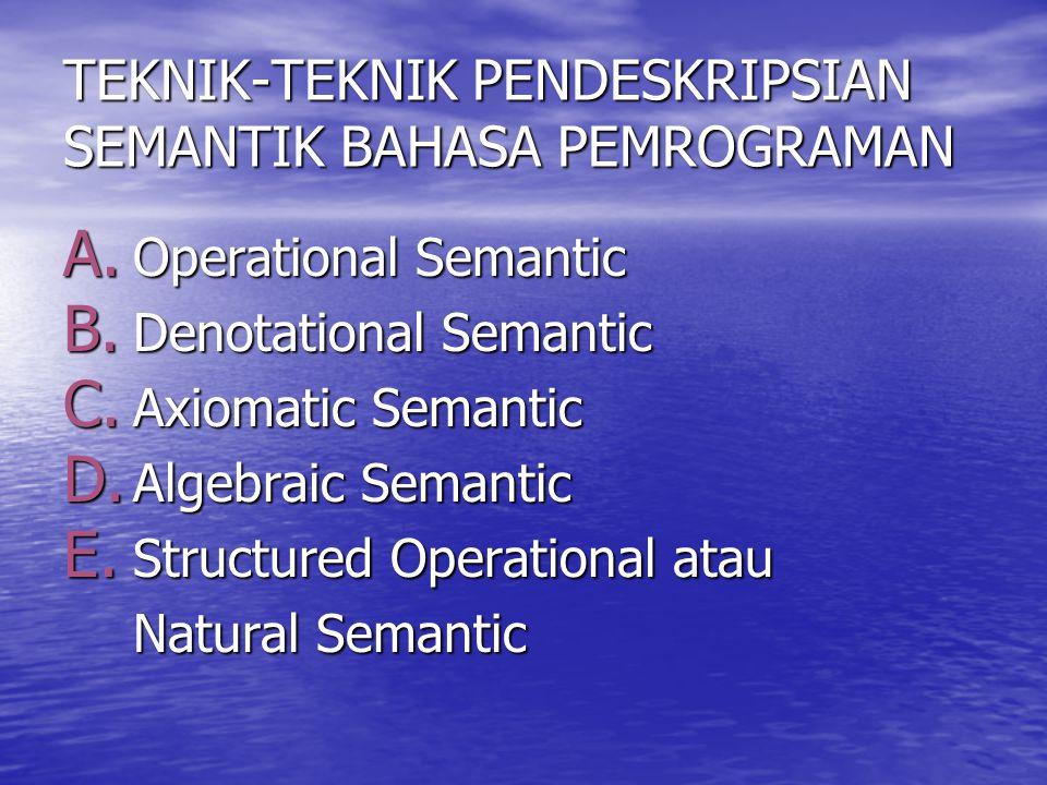 TEKNIK-TEKNIK PENDESKRIPSIAN SEMANTIK BAHASA PEMROGRAMAN A. Operational Semantic B. Denotational Semantic C. Axiomatic Semantic D. Algebraic Semantic