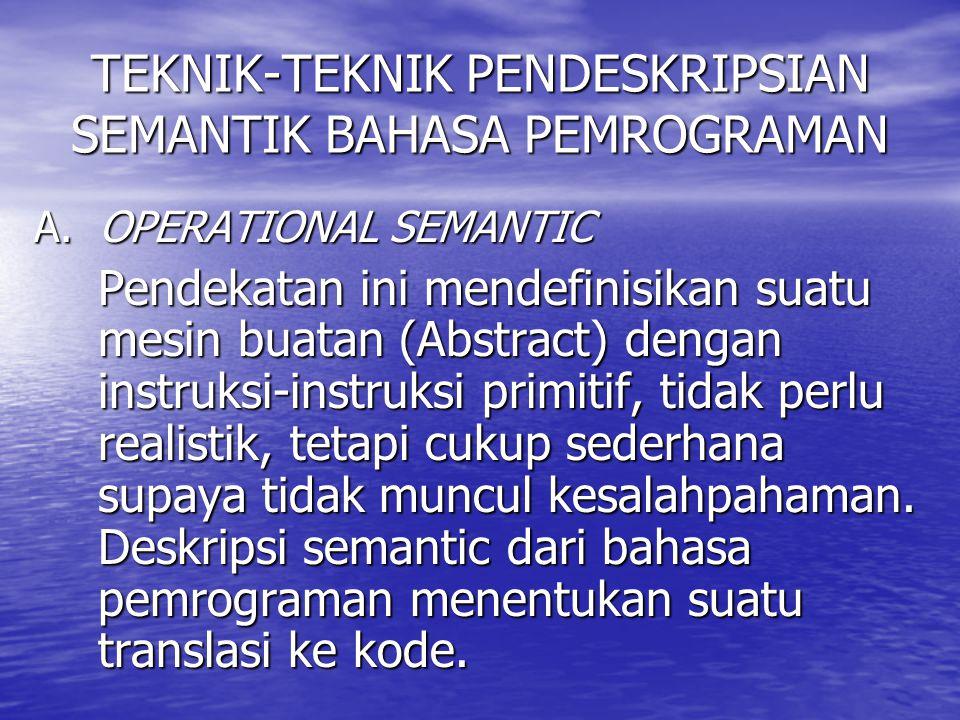 TEKNIK-TEKNIK PENDESKRIPSIAN SEMANTIK BAHASA PEMROGRAMAN A. OPERATIONAL SEMANTIC Pendekatan ini mendefinisikan suatu mesin buatan (Abstract) dengan in