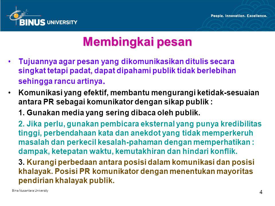 Bina Nusantara University 4 Membingkai pesan Tujuannya agar pesan yang dikomunikasikan ditulis secara singkat tetapi padat, dapat dipahami publik tidak berlebihan sehingga rancu artinya.