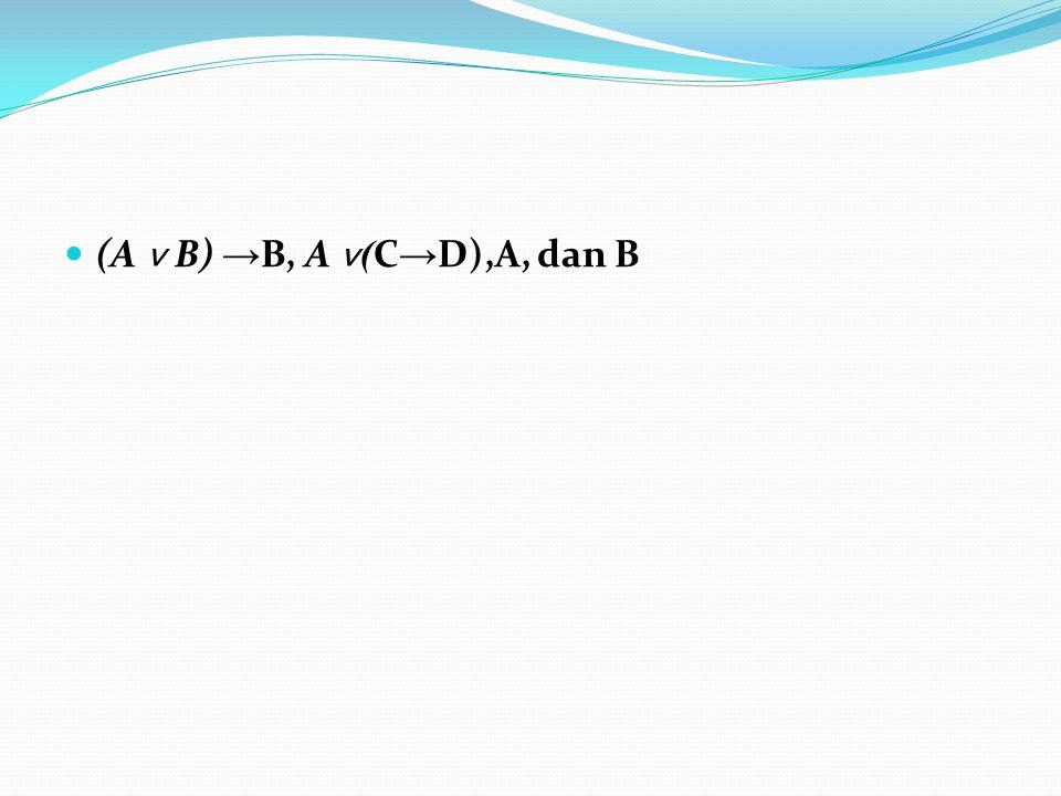 (A ˅ B) → B, A ˅ ( C → D),A, dan B