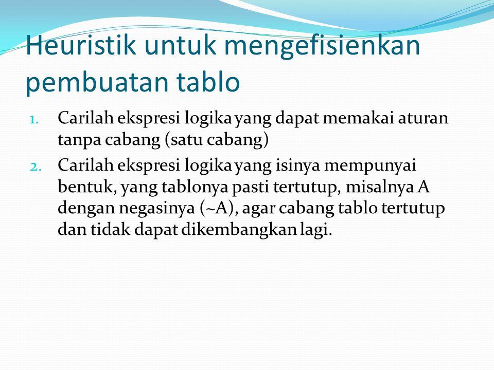 Heuristik untuk mengefisienkan pembuatan tablo 1. Carilah ekspresi logika yang dapat memakai aturan tanpa cabang (satu cabang) 2. Carilah ekspresi log
