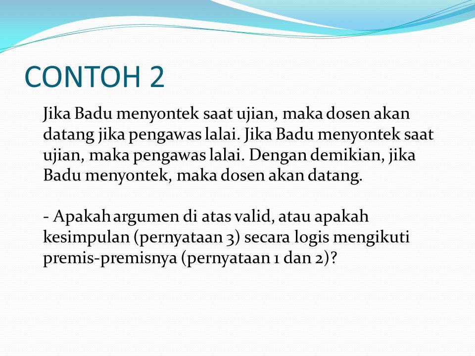 CONTOH 2 Jika Badu menyontek saat ujian, maka dosen akan datang jika pengawas lalai. Jika Badu menyontek saat ujian, maka pengawas lalai. Dengan demik