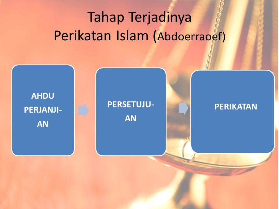 Tahap Terjadinya Perikatan Islam ( Abdoerraoef) AHDU PERJANJI- AN PERSETUJU- AN PERIKATAN