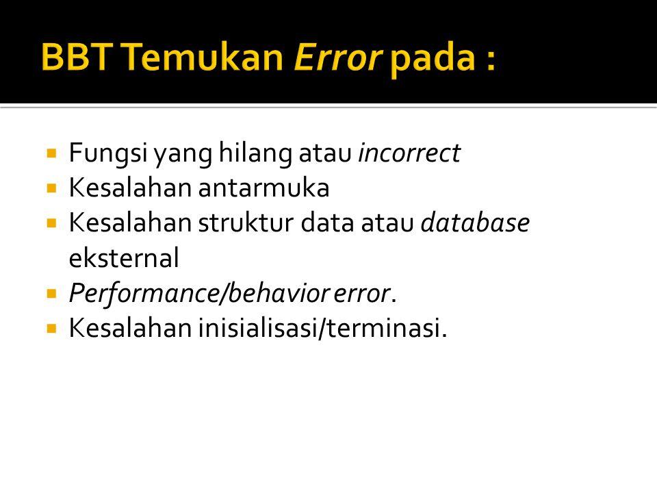  Fungsi yang hilang atau incorrect  Kesalahan antarmuka  Kesalahan struktur data atau database eksternal  Performance/behavior error.  Kesalahan