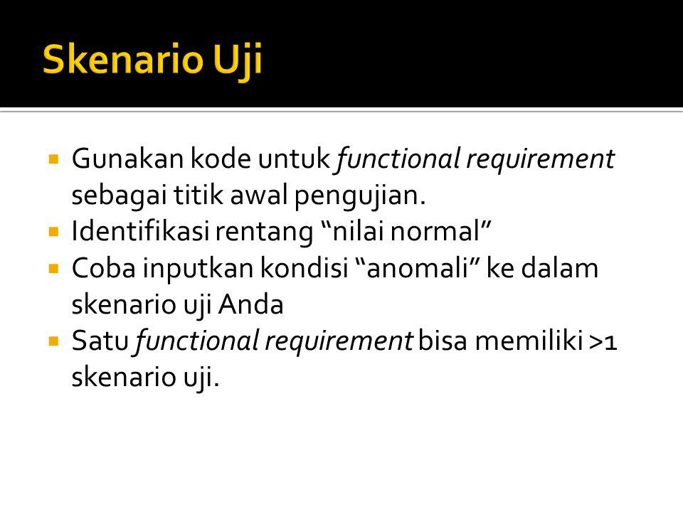 """ Gunakan kode untuk functional requirement sebagai titik awal pengujian.  Identifikasi rentang """"nilai normal""""  Coba inputkan kondisi """"anomali"""" ke d"""