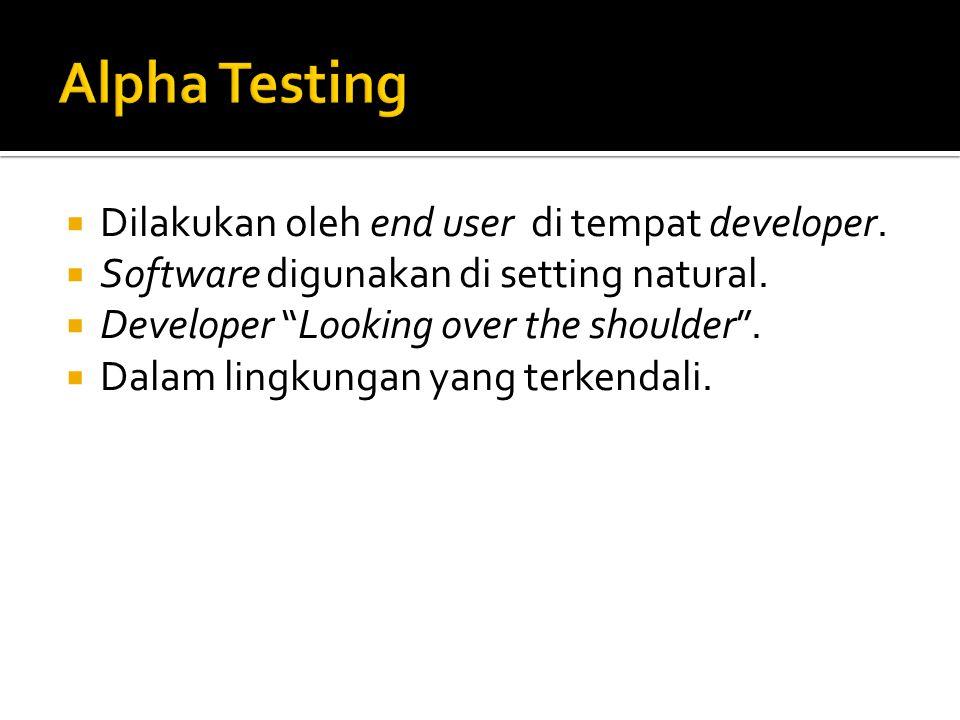""" Dilakukan oleh end user di tempat developer.  Software digunakan di setting natural.  Developer """"Looking over the shoulder"""".  Dalam lingkungan ya"""
