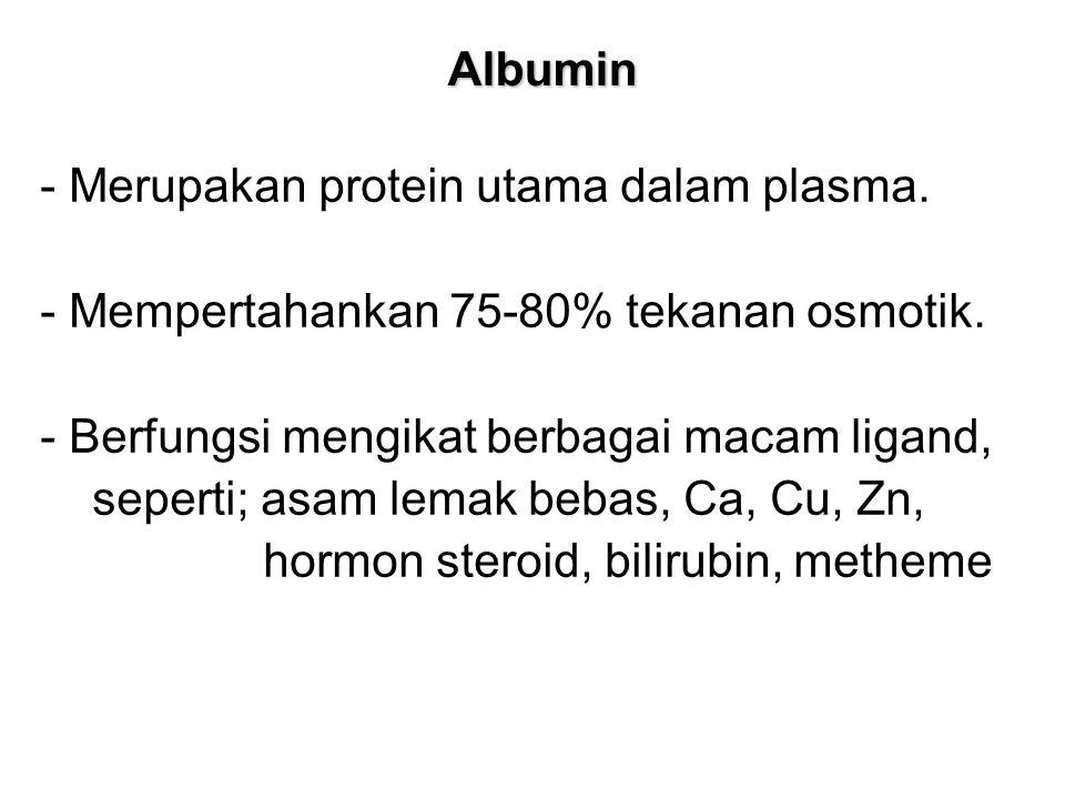 Albumin - Merupakan protein utama dalam plasma.- Mempertahankan 75-80% tekanan osmotik.
