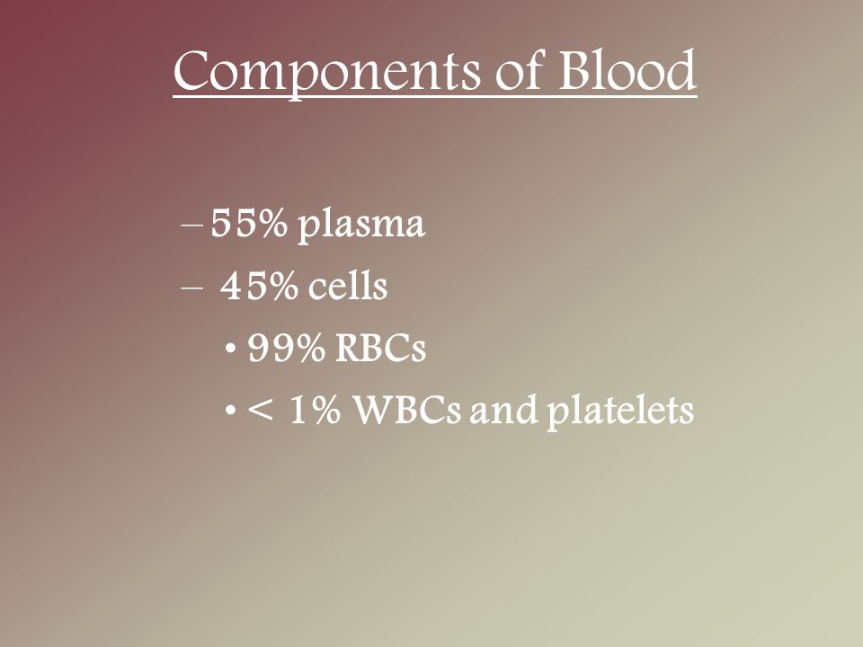 Components of Blood –55% plasma – 45% cells 99% RBCs < 1% WBCs and platelets