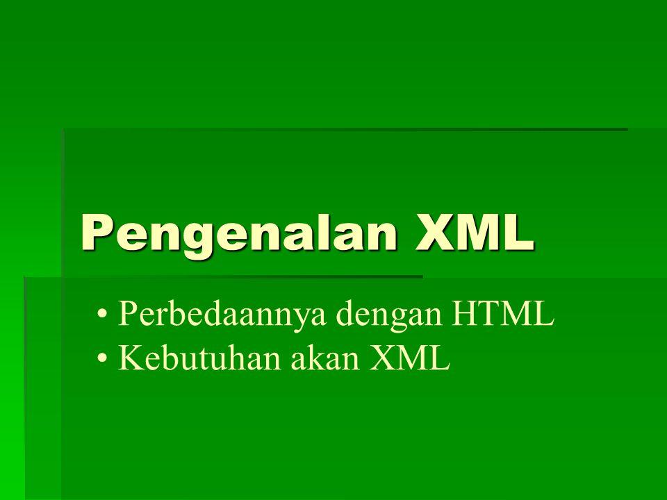 Penulisan Dokumen XML (i)  Setiap dokumen XML dimulai dengan deklarasi dari versi XML yang digunakan  Deklarasi ini bersifat optional, namun bila digunakan, ia harus muncul di awal dokumen  Tag Document Type berfungsi untuk mendefinisikan skema dokumen XML  Food.dtd di atas merupakan skema yg berfungsi untuk parsing dokumen XML tsb