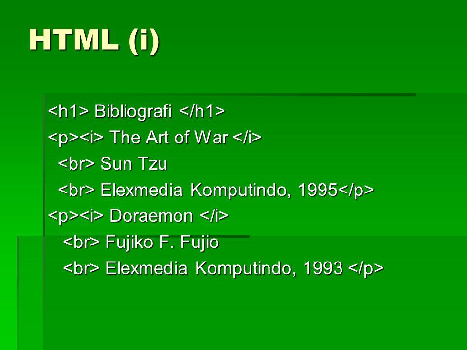 HTML (i) Bibliografi Bibliografi The Art of War The Art of War Sun Tzu Sun Tzu Elexmedia Komputindo, 1995 Elexmedia Komputindo, 1995 Doraemon Doraemon Fujiko F.