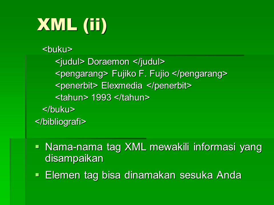 XML (ii)  Subtag membuat pengelompokan item menjadi lebih kecil sehingga manipulasi data dapat dilakukan dengan lebih mudah  PENTING: XML tidak didesain untuk melakukan pemograman tertentu, melainkan hanyalah menyediakan struktur untuk menyimpan dan mengirimkan informasi  Yang menerjemahkan kode-kode XML/ mengartikan tag-tag XML adalah program parser