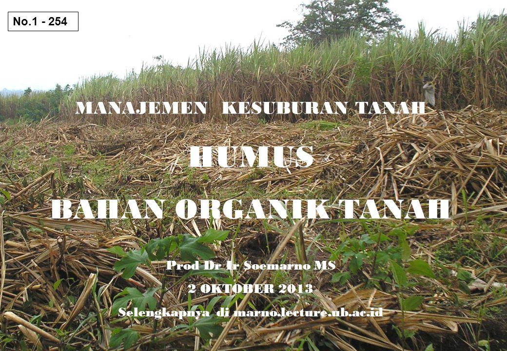 MANAJEMEN KESUBURAN TANAH HUMUS BAHAN ORGANIK TANAH Prod Dr Ir Soemarno MS 2 OKTOBER 2013 Selengkapnya di marno.lecture.ub.ac.id No.1 - 254
