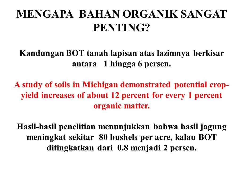 MENGAPA BAHAN ORGANIK SANGAT PENTING? Kandungan BOT tanah lapisan atas lazimnya berkisar antara 1 hingga 6 persen. A study of soils in Michigan demons