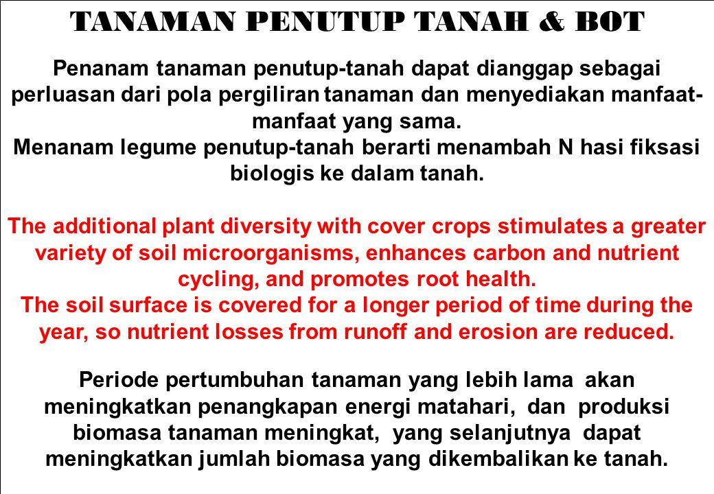 TANAMAN PENUTUP TANAH & BOT Penanam tanaman penutup-tanah dapat dianggap sebagai perluasan dari pola pergiliran tanaman dan menyediakan manfaat- manfa
