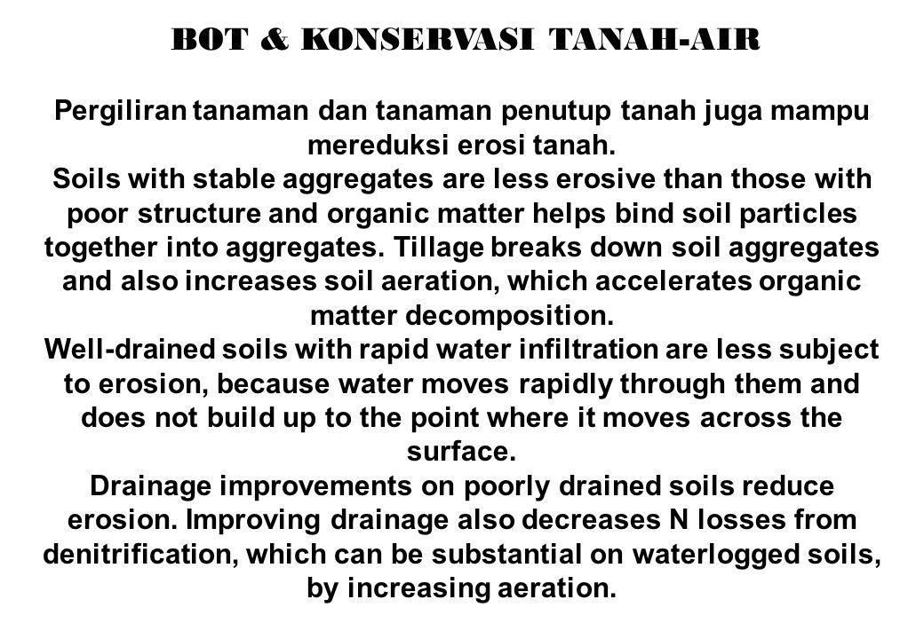 BOT & KONSERVASI TANAH-AIR Pergiliran tanaman dan tanaman penutup tanah juga mampu mereduksi erosi tanah. Soils with stable aggregates are less erosiv