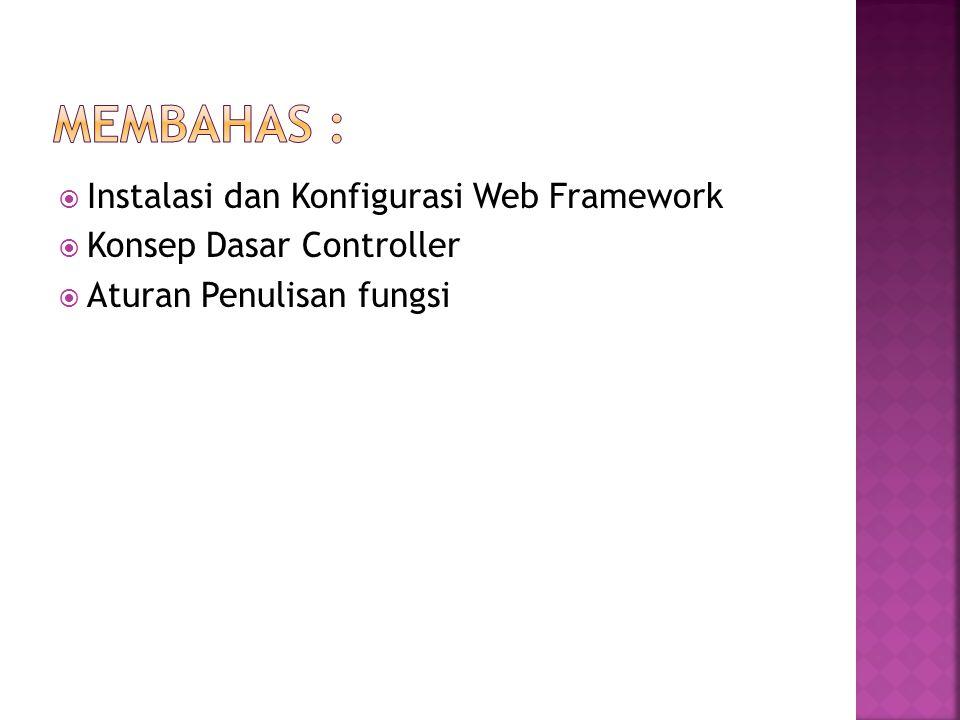  Instalasi dan Konfigurasi Web Framework  Konsep Dasar Controller  Aturan Penulisan fungsi