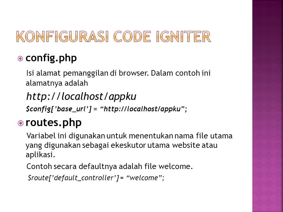  config.php Isi alamat pemanggilan di browser.