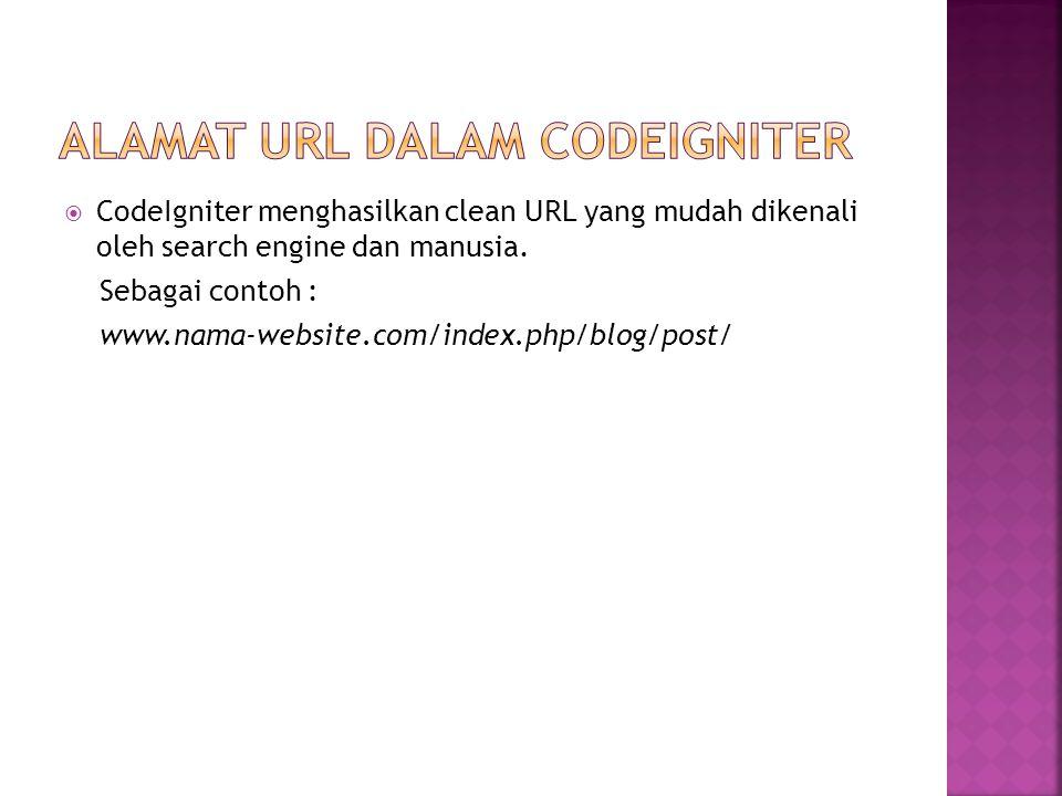  CodeIgniter menghasilkan clean URL yang mudah dikenali oleh search engine dan manusia.