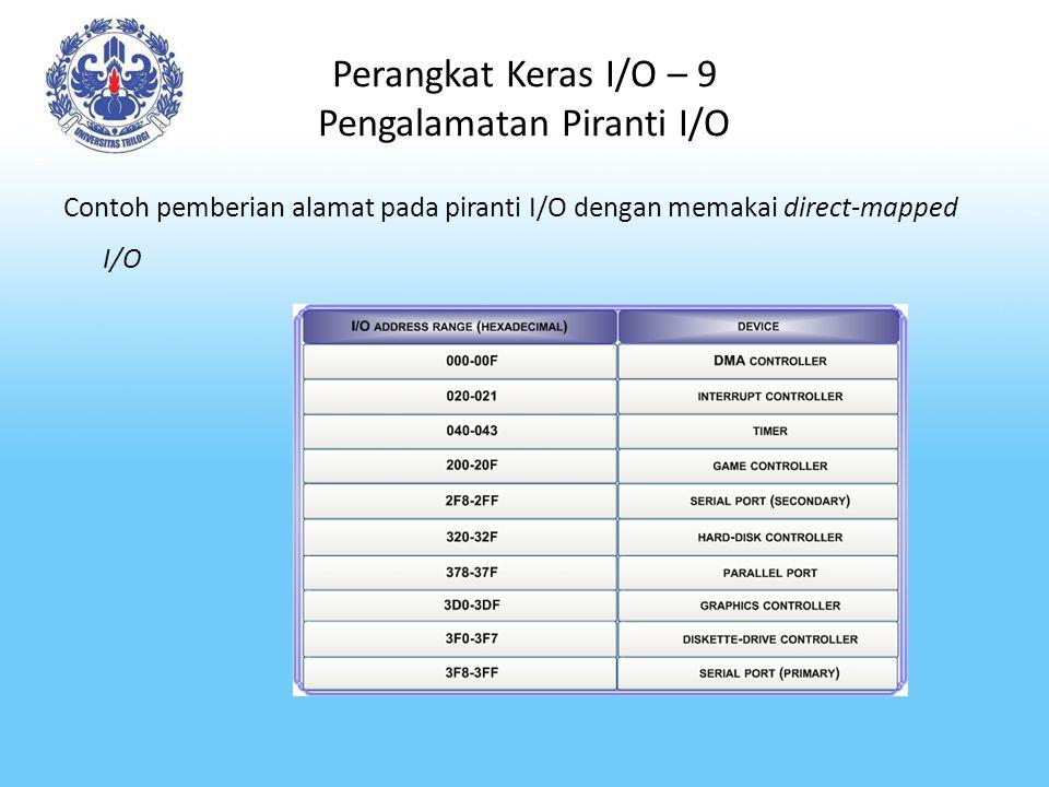 Perangkat Keras I/O – 9 Pengalamatan Piranti I/O Contoh pemberian alamat pada piranti I/O dengan memakai direct-mapped I/O