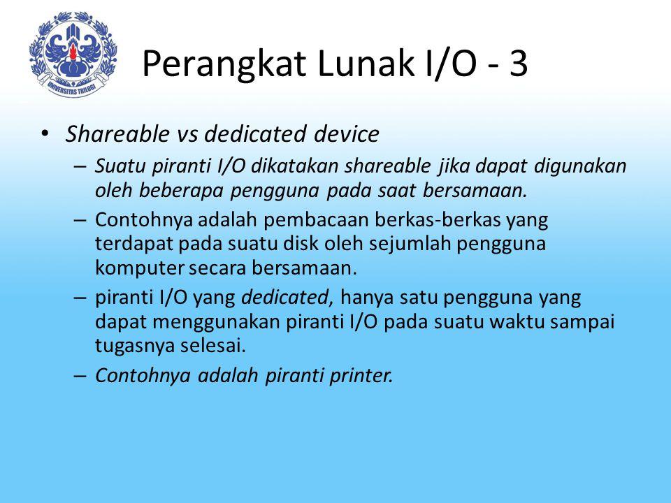 Perangkat Lunak I/O - 3 Shareable vs dedicated device – Suatu piranti I/O dikatakan shareable jika dapat digunakan oleh beberapa pengguna pada saat be