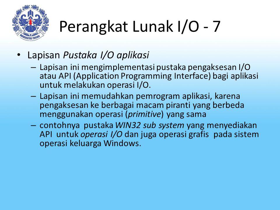 Perangkat Lunak I/O - 7 Lapisan Pustaka I/O aplikasi – Lapisan ini mengimplementasi pustaka pengaksesan I/O atau API (Application Programming Interfac