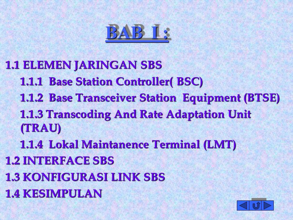 BAB I : 1.1 ELEMEN JARINGAN SBS 1.1.1 Base Station Controller( BSC) 1.1.2 Base Transceiver Station Equipment (BTSE) 1.1.3 Transcoding And Rate Adaptation Unit (TRAU) 1.1.4 Lokal Maintanence Terminal (LMT) 1.2 INTERFACE SBS 1.3 KONFIGURASI LINK SBS 1.4 KESIMPULAN