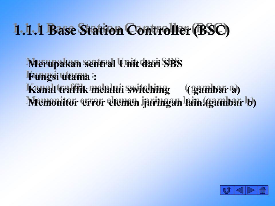 1.1.1 Base Station Controller (BSC) Merupakan sentral Unit dari SBS Fungsi utama : Kanal traffik melalui switching ( gambar a) Memonitor error elemen jaringan lain.(gambar b)