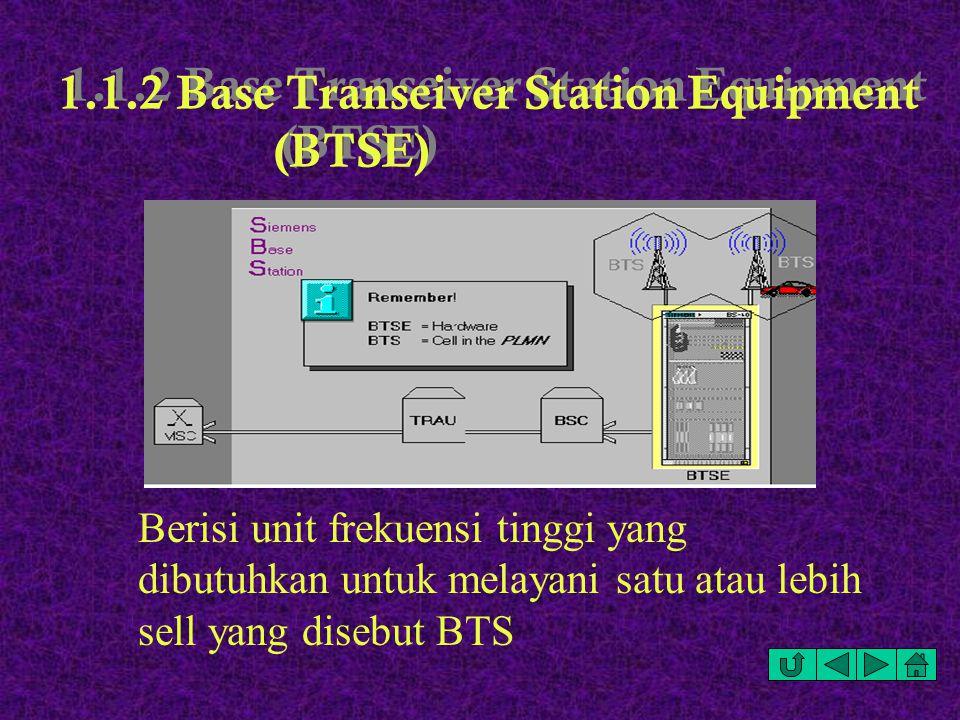 1.1.2 Base Transeiver Station Equipment (BTSE) Berisi unit frekuensi tinggi yang dibutuhkan untuk melayani satu atau lebih sell yang disebut BTS