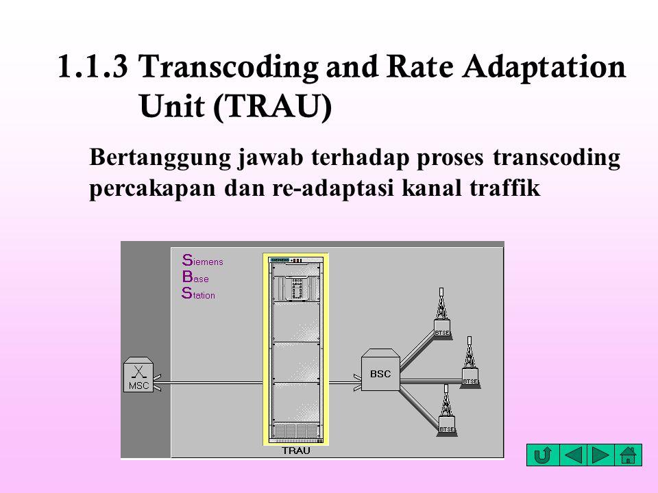 1.1.3 Transcoding and Rate Adaptation Unit (TRAU) Bertanggung jawab terhadap proses transcoding percakapan dan re-adaptasi kanal traffik