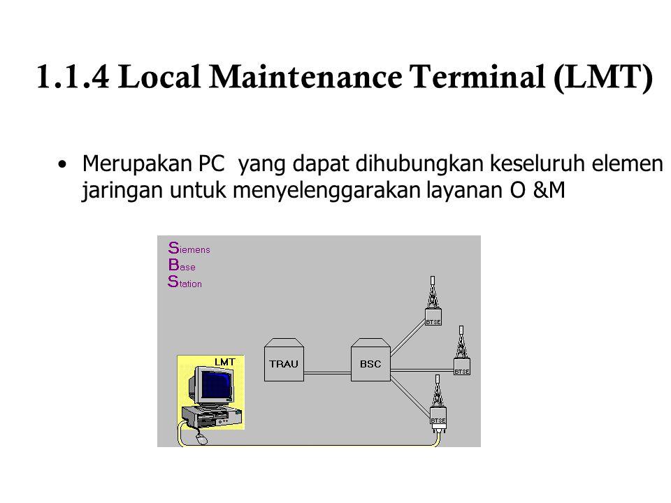 1.1.4 Local Maintenance Terminal (LMT) Merupakan PC yang dapat dihubungkan keseluruh elemen jaringan untuk menyelenggarakan layanan O &M