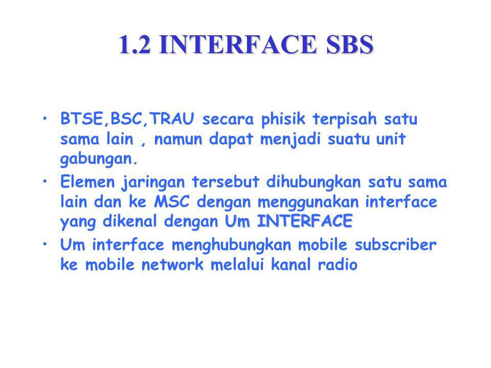 1.2 INTERFACE SBS BTSE,BSC,TRAU secara phisik terpisah satu sama lain, namun dapat menjadi suatu unit gabungan.
