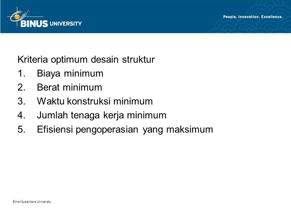 Bina Nusantara University Kriteria optimum desain struktur 1.Biaya minimum 2.Berat minimum 3.Waktu konstruksi minimum 4.Jumlah tenaga kerja minimum 5.Efisiensi pengoperasian yang maksimum