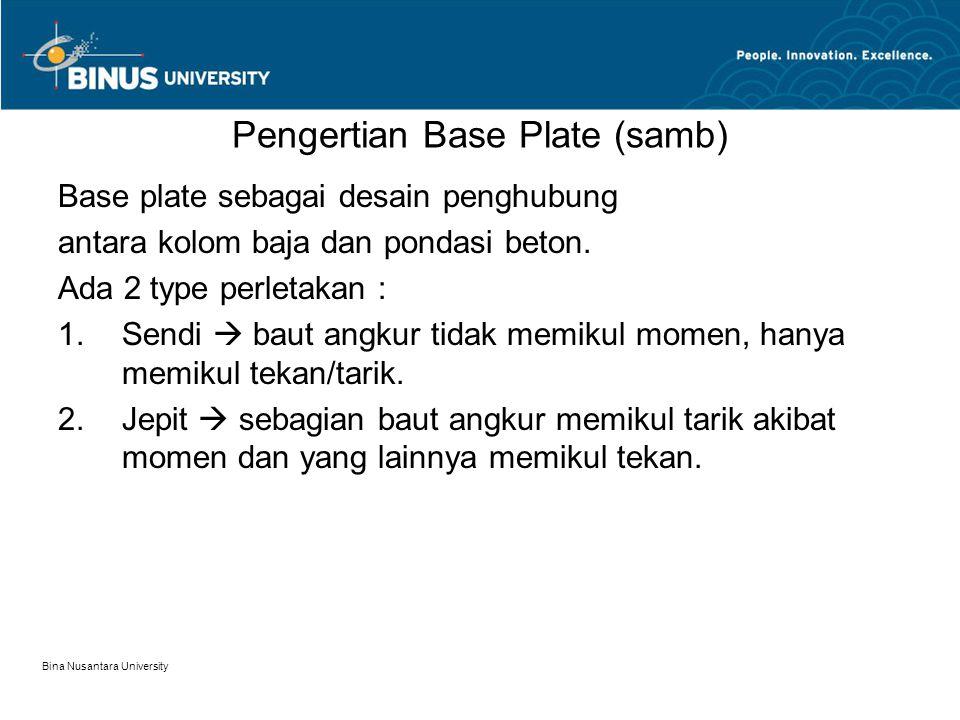 Bina Nusantara University Pengertian Base Plate (samb) Base plate sebagai desain penghubung antara kolom baja dan pondasi beton.