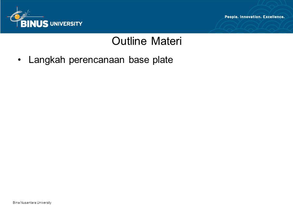 Bina Nusantara University Outline Materi Langkah perencanaan base plate