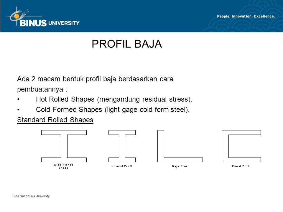 Bina Nusantara University PROFIL BAJA Ada 2 macam bentuk profil baja berdasarkan cara pembuatannya : Hot Rolled Shapes (mengandung residual stress).