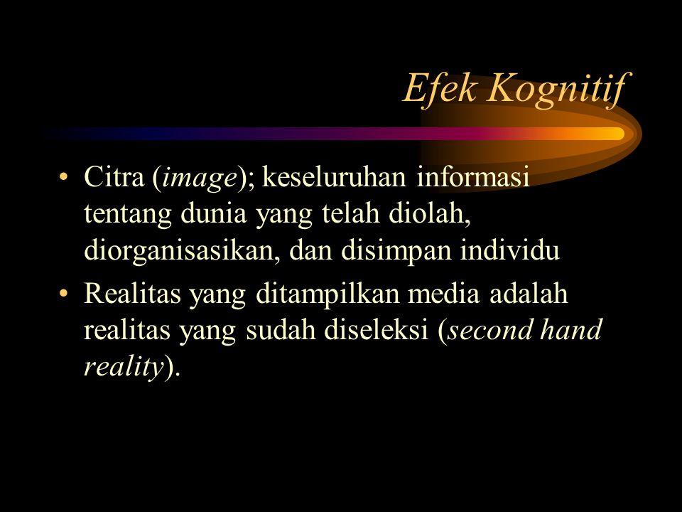 Efek Kognitif Citra (image); keseluruhan informasi tentang dunia yang telah diolah, diorganisasikan, dan disimpan individu Realitas yang ditampilkan media adalah realitas yang sudah diseleksi (second hand reality).